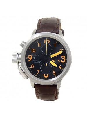 U-Boat Classico Stainless Steel Black Leather Automatic Black Men's Watch 316L