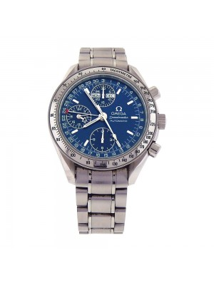 Omega Speedmaster Day Date Blue Dial S.S. Automatic Chronograph Watch 3523.8000