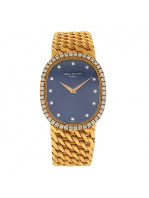 Patek Philippe Golden Ellipse 18k Yellow Gold Diamond Bezel Quartz Watch 3748/97