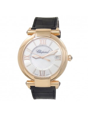 Chopard Imperiale 18k Rose Gold Leather Mother of Pearl Men's Watch 384241-5001