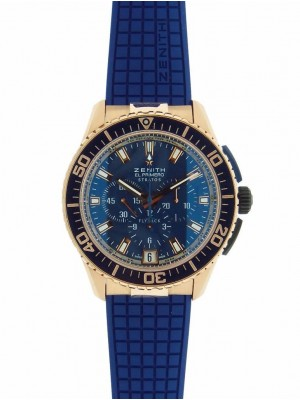 Zenith El Primero Stratos Flyback 86.2061.405/57.R514 18K Gold Blue Rubber Watch