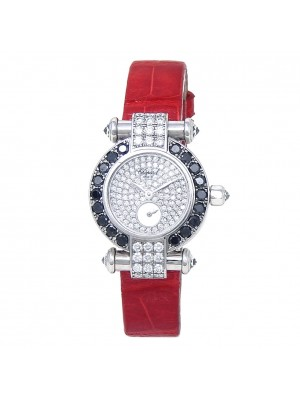 Chopard Imperiale 18k White Gold Leather Diamonds Quartz Ladies Watch 39/6168-50
