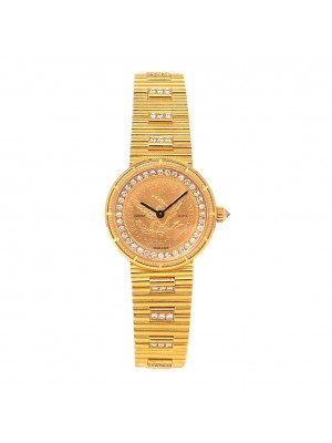 Corum US $2.50 Gold Coin Eagle 18k Yellow Gold Quartz Ladies Watch 5068556V041
