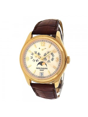 Patek Philippe Annual Calendar Complicated 5146J-001 18k Yellow Gold Brown Leather Automatic Cream Men's Watch