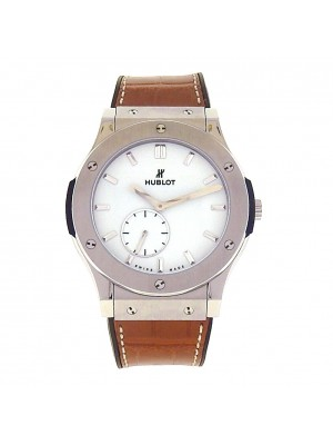 Hublot Classic Fusion Classico Ultra Thin 515.NX.2210.LR Titanium Brown Leather Manual White Men's Watch