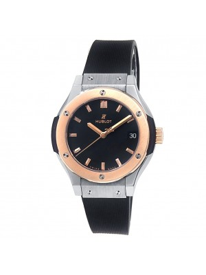 Hublot Classic Fusion 18k Rose Gold Titanium Black Ladies Watch 581.NO.1181.RX