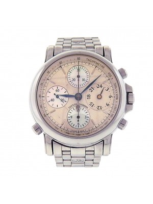 Ulysse Nardin Chronosplit Seconds 583-22 Stainless Steel Chronograph Automatic Silver Mother of Pearl Men's Watch