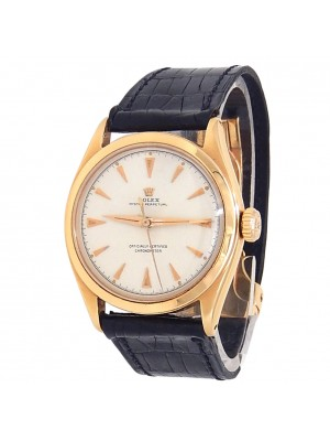 Rolex Vintage Oyster Perpetual 14k Yellow Gold Leather Silver Men's Watch 6084