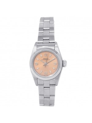 Rolex Oyster Perpetual Stainless Steel Oyster Salmon Ladies Watch 67180