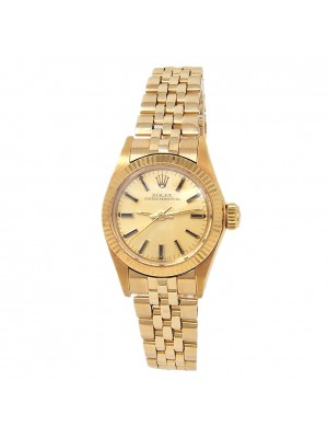 Rolex Oyster Perpetual 18k Yellow Gold Jubilee Auto Champagne Ladies Watch 6719