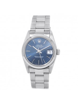 Rolex Datejust Stainless Steel Oyster Automatic Blue Midsize Watch 68240