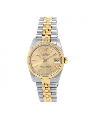 Rolex Datejust 18k Yellow Gold Steel Jubilee Auto Champagne Midsize Watch 68273