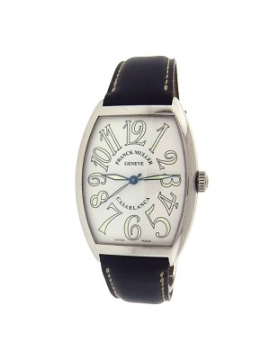Franck Muller Casablanca 6850 Stainless Steel Black Leather Automatic White Men's Watch
