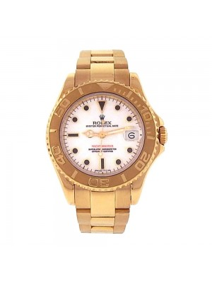 Rolex Yachtmaster 18K Yellow Gold Date Display Midsize Ladies Watch 68628