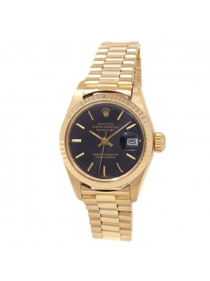 Rolex Datejust 18k Yellow Gold President Automatic Black Ladies Watch 6917