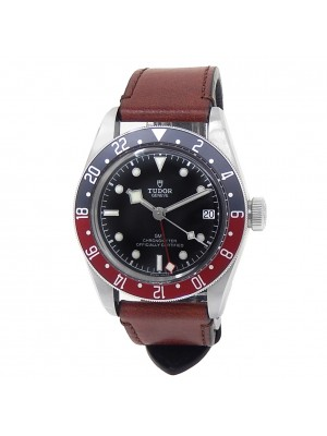 Tudor Black Bay GMT Stainless Steel Leather Automatic Black Men's Watch 79830