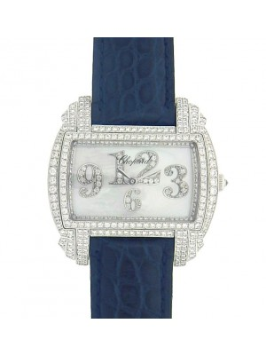Chopard Classic 139266-1001 18K White Gold Blue Leather Diamonds Ladies Watch