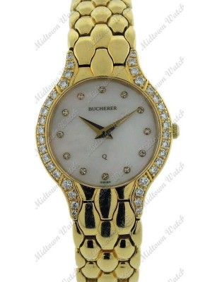 Bucherer Ladies Diamond MOP Dial Yellow Gold Case and Bracelet Quartz Watch