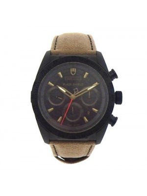 Tudor Fastrider Blackshield 42000CN Black Ceramic Brown Leather Men's Watch