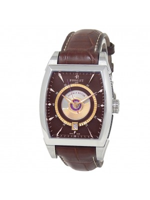 Perrelet Double Rotor Stainless Steel Leather Automatic Brown Mens Watch A1029/5