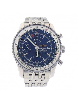 Men Stainless Steel Breitling A24322 Navitimer Blue Dial Auto Chronograph Watch