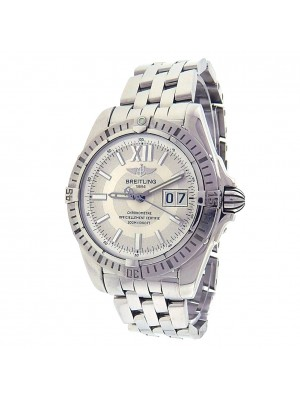 Breitling Windrider Cockpit A49350 Steel Big Date Automatic Silver Men's Watch
