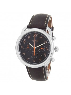 Hermes Arceau Stainless Steel Leather Chronograph Auto Brown Men's Watch AR4.910