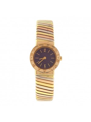 Ladies 18k solid gold Bulgari Tubogas BB 23 2T Tri color Gold Swiss Dress Watch