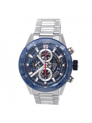 Tag Heuer Carrera Stainless Steel Auto Blue Skeleton Men's Watch CAR201T.BA0766