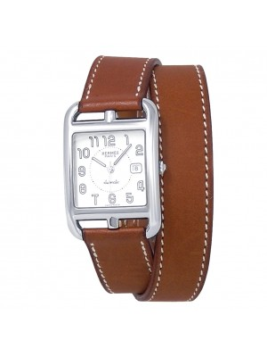 Hermes Cape Cod Stainless Steel Leather Automatic Silver Ladies Watch CC1.710