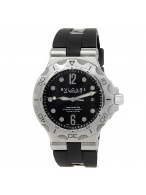 Bvlgari Diagono Stainless Steel Rubber Automatic Black Men's Watch DP 42 S SD