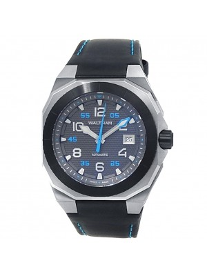 Waltham AeroNaval Stainless Steel Leather Automatic Black Men's Watch AN-01