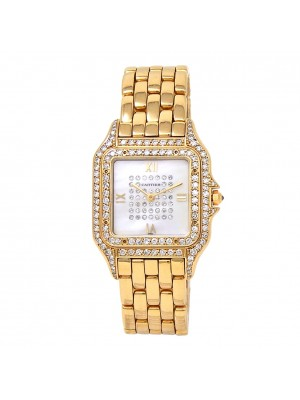 Cartier Panthere 18k Yellow Gold Diamonds Quartz Mother of Pearl Ladies Watch