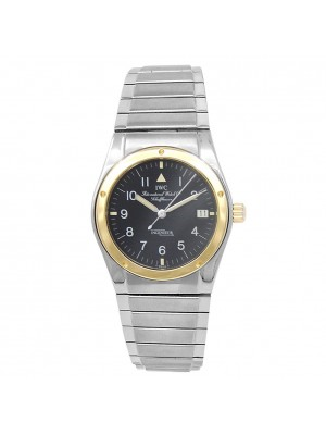 IWC Vintage Ingenieur 18k Yellow Gold Stainless Steel Quartz Black Ladies Watch