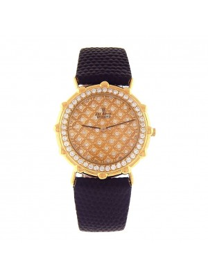 The Royal Diamond 18k Yellow Gold Quartz Diamond Ladies Watch