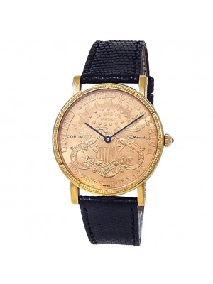 Corum $20 Dollar Coin American Double Eagle 18k Yellow Gold Auto Champagne Watch
