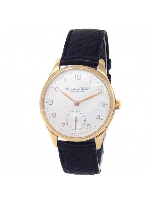 IWC Vintage 18k Rose Gold Black Leather Automatic Silver Men's Watch
