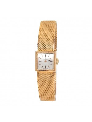 Omega Vintage Square 18k Rose Gold Hand-Winding Ladies Watch