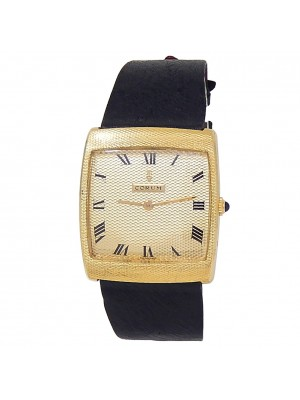 Corum Vintage Buckingham 18k Yellow Gold Leather Manual Champagne Ladies Watch