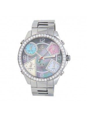 Jacob & Co Five Time Zone Diamond Bezel Stainless Steel Automatic Men's Watch