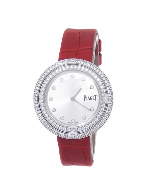 Piaget Possession 18k White Gold Red Leather Quartz Silver Ladies Watch G0A43095