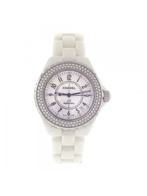 Chanel J12 Diamond Bezel White Ceramic Date Display Automatic Laides Watch H0969