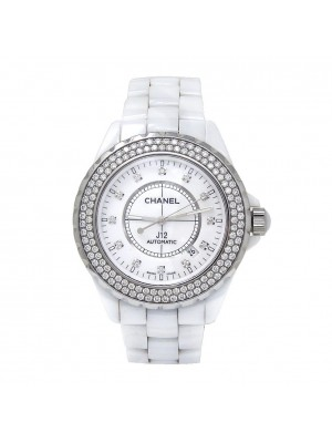Chanel J12 White Ceramic Diamond Bezel Automatic Ladies Watch H2013