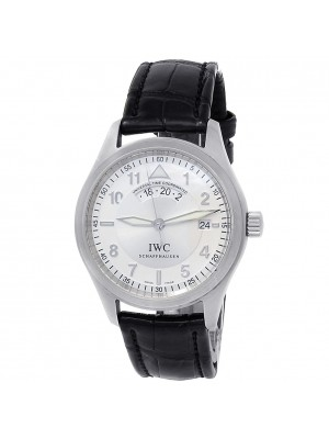 IWC Spitfire UTC Stainless Steel Leather Automatic Silver Men's Watch IW325107