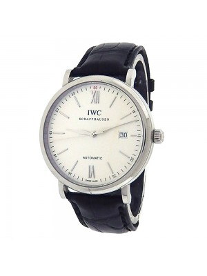IWC Portofino IW356501 Stainless Steel Black Leather Automatic Black Watch