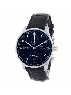 IWC Portuguese Stainless Steel Black Leather Auto Black Men's Watch IW371438