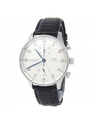 IWC Portuguese Stainless Steel Leather Chronograph Silver Men's Watch IW371446