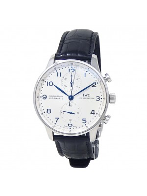 IWC Portuguese Stainless Steel Black Leather Auto Silver Men's Watch IW371446