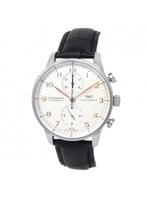 IWC Portugieser Stainless Steel Leather Automatic Silver Men's Watch IW371604