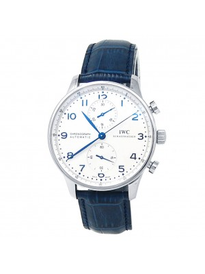 IWC Portugieser Chronograph Stainless Steel Leather Silver Men's Watch IW371605